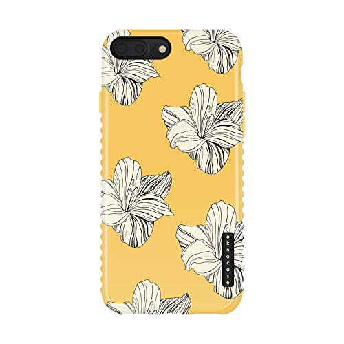 iPhone 8 Plus / 7 Plus case Flower, Akna Collection Flexible Silicon Cover for Both iPhone 7 Plus & 8 Plus [Retro Yellow Floral](1248-U.S)