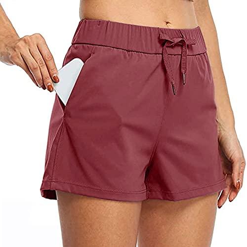Beudylihy Pantalones cortos de deporte para mujer, para yoga, fitness, gimnasio, pantalones cortos de correr, de un solo color, con cordón, pernera ancha, cintura elástica, bolsillos, burdeos, L
