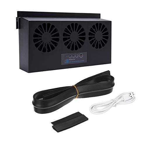 tellaLuna Ventilador de escape solar del coche USB/Solar Dual Carga Extractor de aire IP67 Impermeable Panel Solar Ventilador Ventilador Ventilador de refrigeración Negro