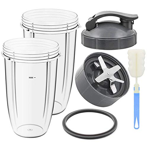 Timagebreze Replacement Parts 32Oz 24Oz Cups and Extractor Blade and Gasket Accessories for 600W/900W Blender Models