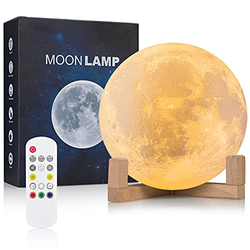 Moon Lamp, Wall-mounted Kids Night Light, 2021 Upgraded 6.0 Inch 18 Colors Sliding /Remote Control Moon Light with Unique Stand, Timing, USB Rechargeable, Wall Light Moon Decor, Best Gift