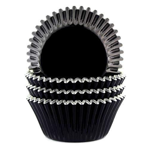 Eoonfirst Foil Metallic Cupcake Liners Standard Baking Cups 100 Pcs (Black)