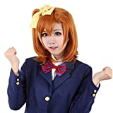 Ani·Lnc Wigs LoveLive Kousaka Honoka Orange Short Curly Synthetic Hair Wigs Cosplay Party Wigs for Women