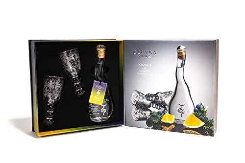 U'Luvka Vodka ORANGE & JUNIPER The Spirit of Friendship 40% - 100 ml in Giftbox with 2 glasses