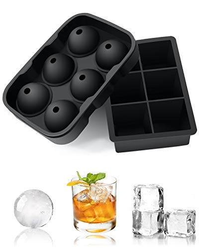 Ice Cube Trays Large, Set of 2 Silicone Ice Cube Tray, Round Ice Ball, Big Ice Cubes Molds for Whiskey Reusable and BPA Free