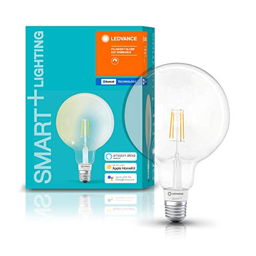 LEDVANCE Lampada LED Smart+ con tecnologia Bluetooth, globo filamentos, E27, dimmerabile, sostituisce lampadine da 50 W, bianco caldo, 2700 K, controllabile con Google, Alexa e Apple Voice Control