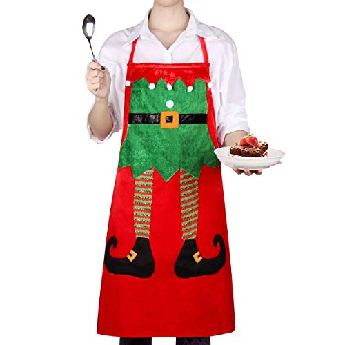 uptronic Holiday Kitchen Elf Aprons Christmas Xmas Chef Apron Cute Cartoon Christmas Dress Great Gifts for Women Cooking Baking Celebrations Christmas Holiday Themed Party