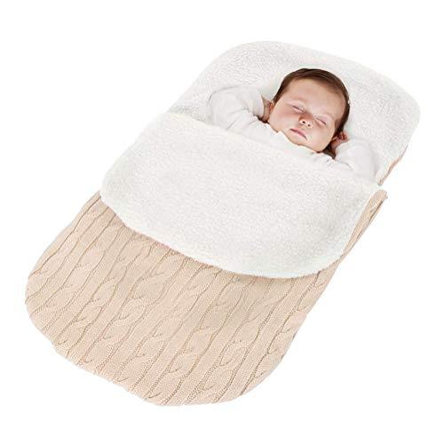 Minetom Kinderwagen Baby Schlafsack Stricken Winter Buggy Babyschale Winterfußsack Weich Warmes Plüsch Draussen Fußsack Babydecke Footmuff Beige 38 * 68 cm