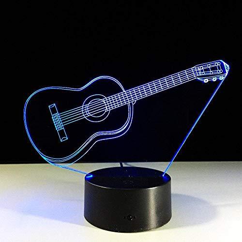 3D Illusie lamp Nacht Licht Touch Elektrische Gitaar Slide Illusie Nacht Visie Tafellamp Kerstmis Decoratie Licht USB 7 Kleuren (Afstandsbediening)