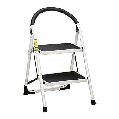Ollieroo Step Stool EN131 Steel Folding 2 Step Ladder with Comfy Grip Handle Anti-slip Step Mon-marring Feet 330-pound Capacity White