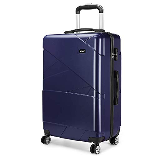 Kono Fashion 4 Spinner Wheels Travel Luggage Hard Shell PC Suitcases 65 Litre (24',Navy)