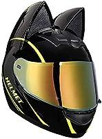 猫耳付きオートバイヘルメット、大人フリップアップバイザーモトクロスヘルメットオートバイクラッシュモジュラーヘルメットECE認定モペットストリートバイクスクーターレーシングオフロードモトヘルメット C,XL