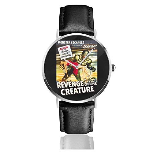 Unisex Business Casual Rache der Kreatur Filmplakat Uhren Quarz Lederuhr