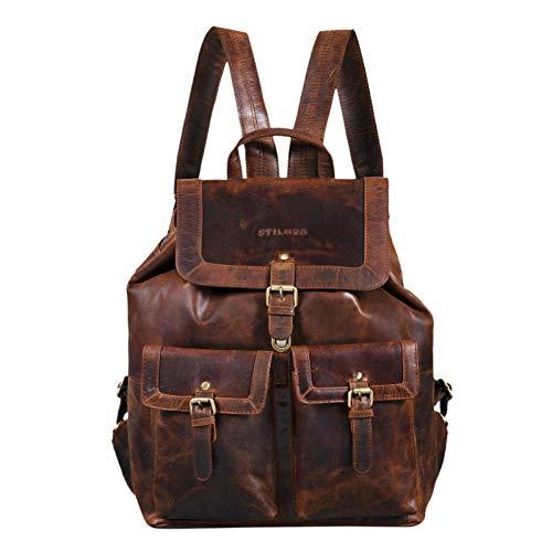STILORD 'Nora' Großer Lederrucksack Vintage Hochwertiger Daypack 15.6 Zoll Rucksack-Handtasche für Schule Uni Freizeit Echtes Leder, Farbe:Zamora - braun