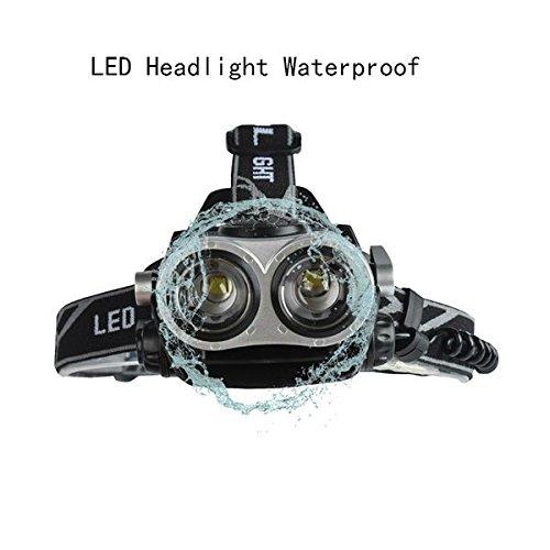Hangang Projecteur à LED étanche 5 modes Phare à intensité variable USB rechargeable 6000 lumens Tête pour courir lire Camping équitation Pêche Outdoor Lampe de poche