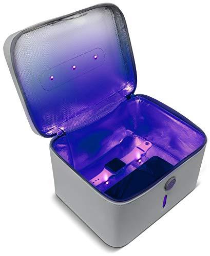 Aduro U-Clean UV Light Sanitizer Bag Portable UV-C Light Sterilizer Box UVC Light Sanitizer Light Cleaner Bag Disinfectant for Phone, Makeup Tools, Credit Cards, Keys, Glasses, and More (Gray)