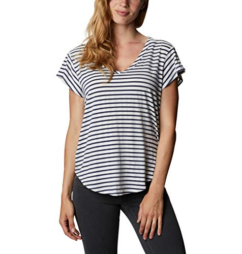 Columbia Women's Essential Elements Relaxed Short Sleeve Tee, White Spacedye Stripe, Large