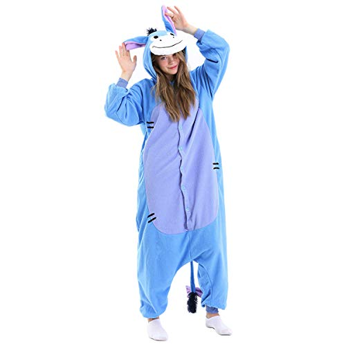Eeyore Adults Onsie Pajamas-Halloween Costumes Animal One Piece Pajamas for Women Men(S 4'11''-5'2'') Blue