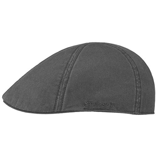 Stetson Texas Cotton Flatcap mit UV Schutz 40+ - Schirmmütze aus Baumwolle - Unifarbene Mütze Frühjahr/Sommer dunkelgrau L (58-59 cm)