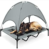 Best Choice Products 48in Elevated Cooling Dog Bed, Outdoor Raised Mesh Pet Cot w/Removable Canopy Shade Tent, Carrying Bag, Breathable Fabric - Gray