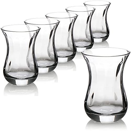 com-four Juego de Vasos de té de 6 Piezas, Vasos de té Turco, Original Juego Oriental Çay para 6 Personas en un diseño Tradicional