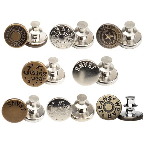 Botones vaqueros, 8 botones de vaquero, desmontables y ajustables, sin costuras, para hombre y mujer