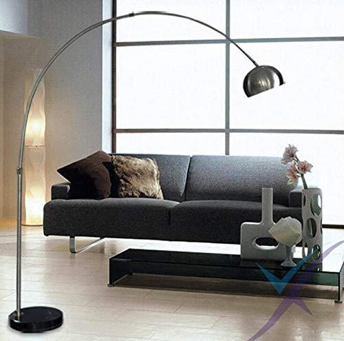 JSJJAER Lampara de pie Nordic E27 Cromo Negro de mármol LED lámpara Plegable giratoria Baja del Arco for el Trabajo de Oficina y Estudio de decoración del hogar Baja Luz Decoración hogareña acogedora