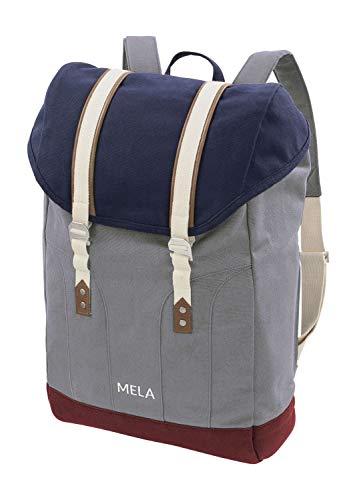 MELAWEAR MELA V Rucksack aus Bio Baumwoll Canvas - Hochwertiger Damen & Herren Tagesrucksack aus 100% nachhaltigen Materialien - GOTS & Fairtrade, Farbe:blau/grau/burgunderrot