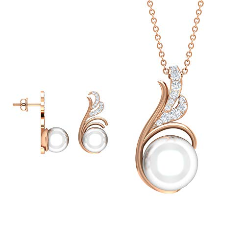 16.29 CT Real Diamond Pendant and Earring Set, Fresh Water Pearl Drop Pendant Necklace, Women Comfortable Pearl Stud Earring, Anniversary Drop Pendant,18K Rose Gold Without Chain