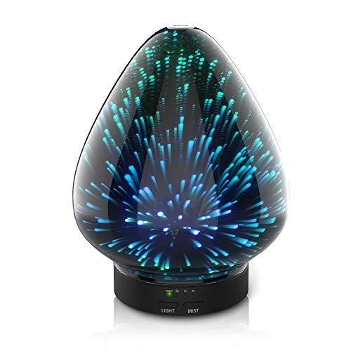 3D Glas Ultraschall ätherisches Öl Diffusor Aromatherapie Diffusor für ätherische öle ultraleise Luftbefeuchter Raumbefeuchter- Automatische Abschaltung bei Wassermangel 120ml 7 Farben LED Farbverlauf