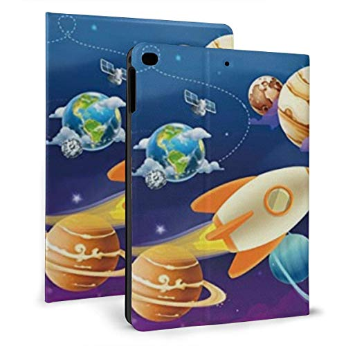 LongDD Ipad case Galaxy Outer Space Planet Universe Rockets Slim Lightweight Smart Shell Stand Cover Case for7th 10.2 inch
