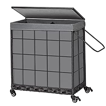 Laundry Hamper with Wood Lid and Divided Liner Bag Durable Laundry Basket with Heavy Duty Rolling Lockable Wheels  Laundry Sorter with Removable Liner Bag  Grey