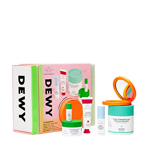 Drunk Elephant Dewy: The Polypeptide Kit. Complete Cleansing and Nourishing Skin Care Bundle (Butter Cleanser, Peptide Moisturizer, Powder Exfoliant, Hydration Serum, and Retinol Cream)