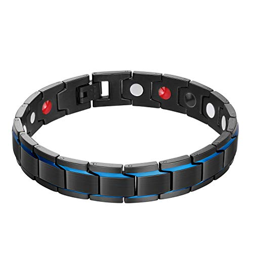 Jeracol Magnetic Bracelet Men Strong Magnet Blue&Black Magnetic Therapy Bracelets for Arthritis Men Pain Anxiety Relief with Remove Tool & Gift Box