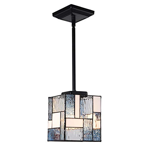 Artzone Tiffany Pendant Lighting Fixtures 6 inch Wide 1-Light Square Contemporary Style Stained Glass Hanging Lamp for Dining Room Kitchen Island