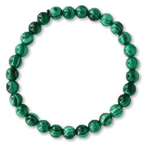 Taddart Minerals - Pulsera verde de piedra preciosa natural malaquita con bolas de 6 mm colocadas en hilo elástico de nailon - Hecho a mano.