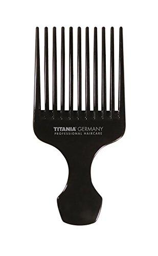 TITANIA Peigne afro, grand avec poignée, env. 15cm, noir, 1pack (1x 30g)
