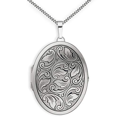 Medaillon XXL mit Kette mattiert Ornament verziert oval 925 Sterling Silber zum öffnen für Bildereinlage 2 Fotos Amulett Verzierung + Kette mit Schmuck-Etui von Haus der Herzen®