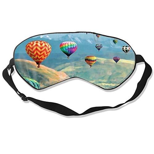 Slaap Masker, Oog Masker, Ultra Zachte Natuurlijke Zijde Stof en Katoen Gevulde Slaapoog Masker met Verstelbare Band voor Mannen, Vrouwen en Kinderen, Hot Air Ballon Schilderen