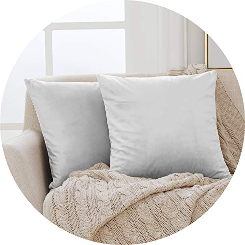 Deconovo Functional Crushed Velvet Cushion Covers Throw Pillow Cases Throw Cushion Protectors for Chairs with Invisible Zipper Light Grey 50cm x 50cm 20x20 Inches Set of 2