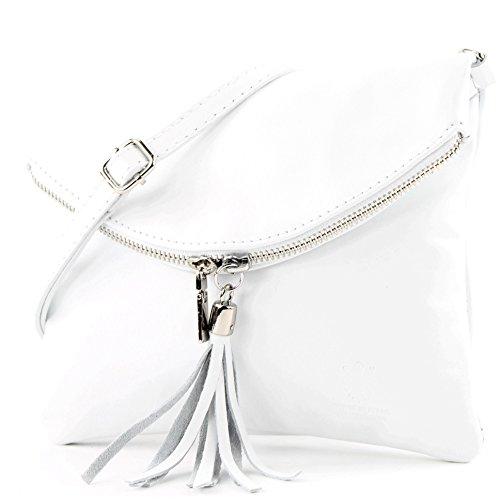modamoda de - T139 - ital Umhängetasche Klein aus Nappaleder, Farbe:T139 Weiß