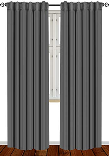Utopia Bedding 2 Panels Rod Pocket Blackout Curtains W52 x...