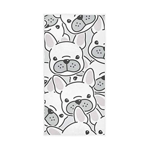 BOOBERT Large Hand Towels Dog French Bulldog Puppy 15 x 30 Inch Super Absorbent Soft Fingertip Towels Multipurpose for Hand Face Bathroom Gym