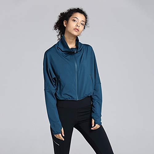 Trihedral-X Course matinale de l'exercice de Yoga T-Shirt Mince Printemps Manteau féminin et Sexy de l'été en Maille Rouge avec l'argent (Color : Zhang Qing, Size : L)