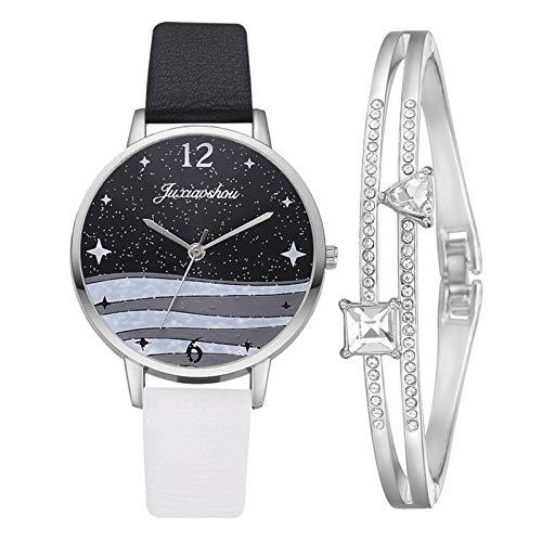 Hunpta @ Damen Armbanduhren Armband Set Analog Quarz Uhr Mode Frauen Mädchen Armbanduhr Sternenhimmel Gefrostetes Zifferblatt Lederarmband Legierung Uhren Weihnachten Geburtstag Geschenk