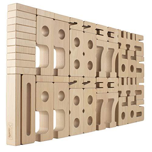 SumBlox Original Design Montessori Spielzeug-Basisset - 47 große Holzbausteine aus massiver Buche mit Aktivitätskarten - Lernen durch Spielen, hervorragende Lernressourcen
