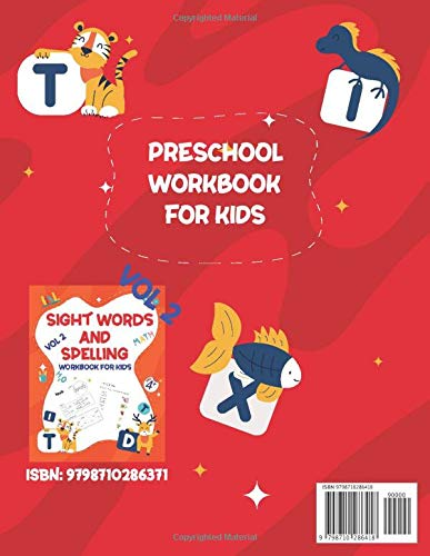 『SIGHT WORDS AND SPELLING WORKBOOK FOR KIDS AGE +4 VOL1: Learn to Write and Spell Essential Words | Kindergarten Workbook,Reading & Phonics Activities For Most Common High Frequency Words For Kids Learning To Write & Read..』の1枚目の画像