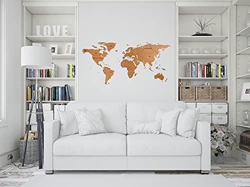 Mappa del mondo 3D in legno | Decorazione d'arte per parete 125,7 x 59,7 cm | Mappa di viaggi per parete. Idea Eccellente Come Regalo o Come Decorazione muraria - Ufficio, Cucina, Salotto (Marrone)