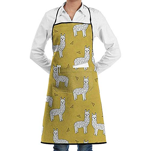 Wthesunshin Llama Mosterd Geel Commerciële Chef Schort met Zak, Unisex Restaurant Keuken Bib Apron, Machine Wasbaar, Perfect voor Koken, Bakken,