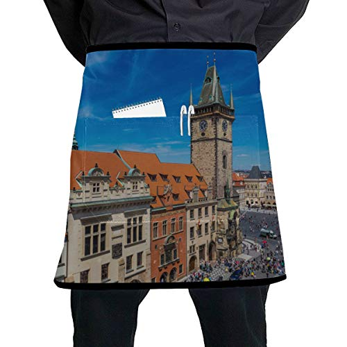 WYYWCY Taille Arbeit Schürzen für Männer Glockenturm in der Altstadt Kunst Taille Schürze mit großer Tasche Unisex für die Küche Handwerk Grill Zeichnung